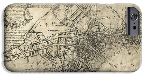 Boston Map iPhone Cases - BOSTON of BRITISH DOMINION MAP  1769 iPhone Case by Daniel Hagerman
