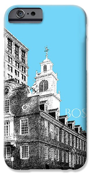 Pen And Ink iPhone Cases - Boston Old State House - Sky Blue iPhone Case by DB Artist
