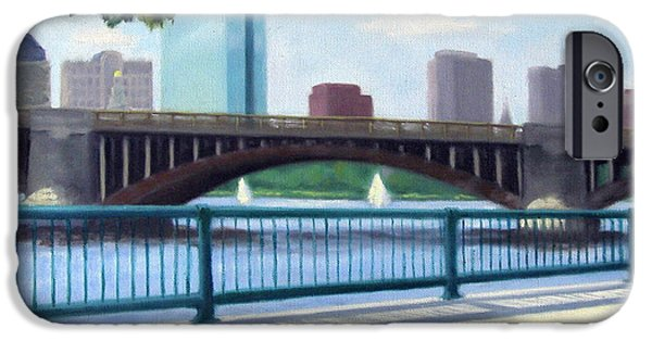 Red Sox Paintings iPhone Cases - Boston on the Charles River iPhone Case by Rosemarie Morelli