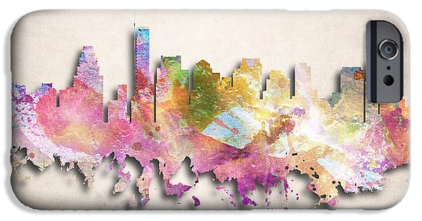 Boston Cityscape iPhone Cases - Boston Painted City Skyline iPhone Case by World Art Prints And Designs