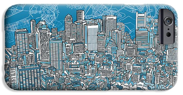 Boston Map iPhone Cases - Boston Panorama Abstract 2 iPhone Case by MB Art factory