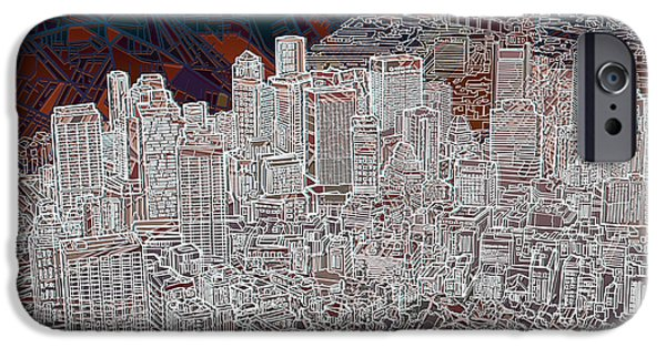 Boston Cityscape iPhone Cases - Boston Panorama Abstract 3 iPhone Case by MB Art factory