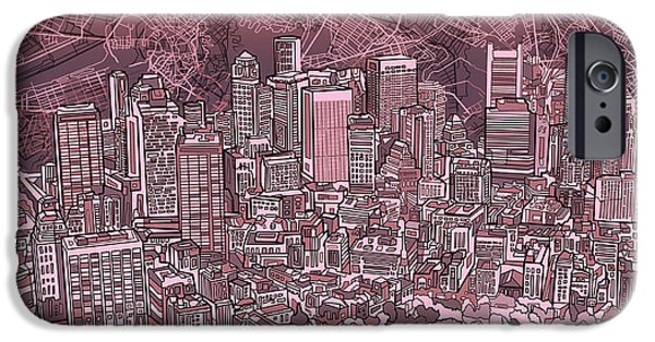 City. Boston iPhone Cases - Boston Panorama Abstract iPhone Case by MB Art factory