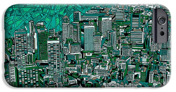 City. Boston iPhone Cases - Boston Panorama Green iPhone Case by MB Art factory