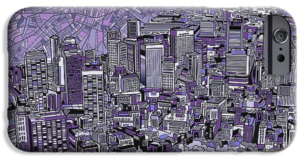 Boston Cityscape iPhone Cases - Boston Panorama Purple iPhone Case by MB Art factory