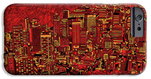 City. Boston iPhone Cases - Boston Panorama Red iPhone Case by MB Art factory