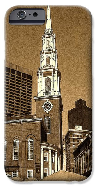 City. Boston Drawings iPhone Cases - Boston Park Street Church - Architecture iPhone Case by Peter Fine Art Gallery  - Paintings Photos Digital Art