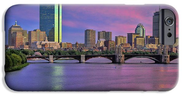 Boston Nightscape iPhone Cases - Boston Pastel Sunset iPhone Case by Joann Vitali