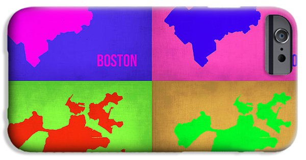 City. Boston iPhone Cases - Boston Pop Art Map 1 iPhone Case by Naxart Studio