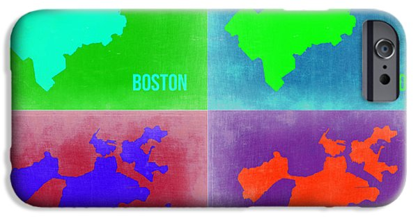 City. Boston iPhone Cases - Boston Pop Art Map 2 iPhone Case by Naxart Studio
