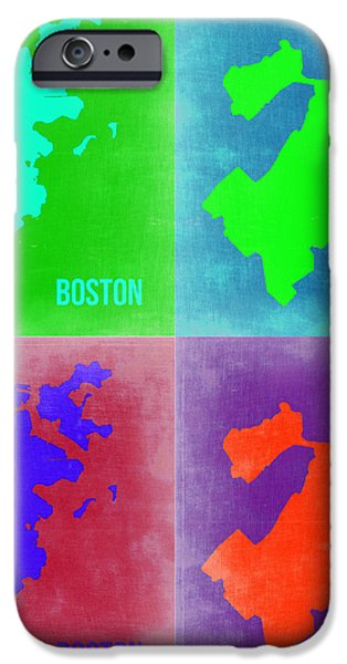 Boston Pop Art Map 2 iPhone Case by Naxart Studio