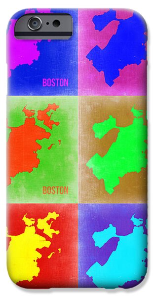 City. Boston iPhone Cases - Boston Pop Art Map 3 iPhone Case by Naxart Studio