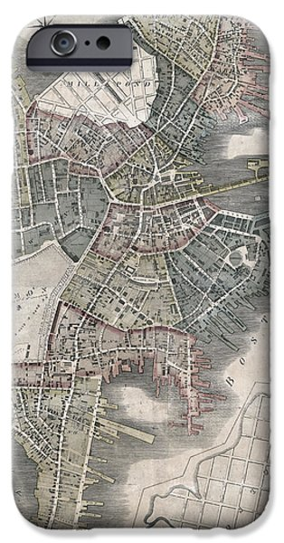 Map Of Boston iPhone Cases - Boston Post Revolution Map 1814  iPhone Case by Daniel Hagerman