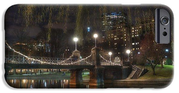 Boston Nightscape iPhone Cases - Boston Public Garden and Lagoon Bridge at Night iPhone Case by Joann Vitali