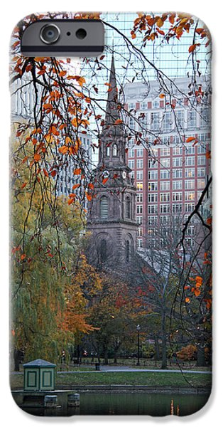 City. Boston iPhone Cases - Boston Public Garden in Autumn iPhone Case by Kathy Yates