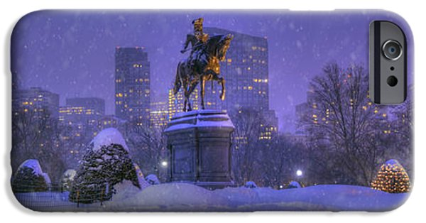 New England Snow Scene iPhone Cases - Boston Public Garden in Snow with Boston Skyline iPhone Case by Joann Vitali