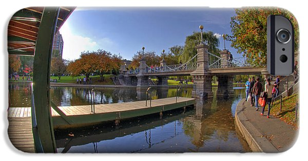 Massachusetts Autumn Scenes iPhone Cases - Boston Public Garden iPhone Case by Joann Vitali