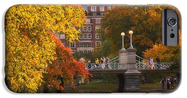 Fall Scenes iPhone Cases - Boston Public Garden Lagoon Bridge iPhone Case by Joann Vitali