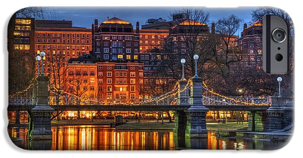 Boston Cityscape iPhone Cases - Boston Public Garden Lagoon iPhone Case by Joann Vitali