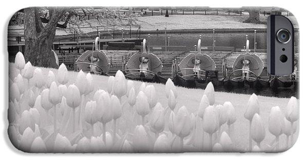 City. Boston iPhone Cases - Boston Public Garden Swan Boats - Black and White iPhone Case by Joann Vitali