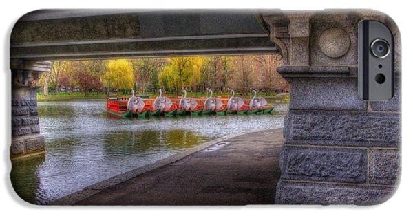 Boston Ma iPhone Cases - Boston Public Garden Swan Boats 2 iPhone Case by Joann Vitali