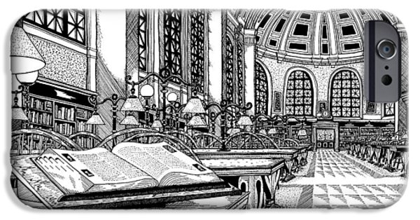 City. Boston Drawings iPhone Cases - Boston Public Library Bates Hall iPhone Case by Conor Plunkett