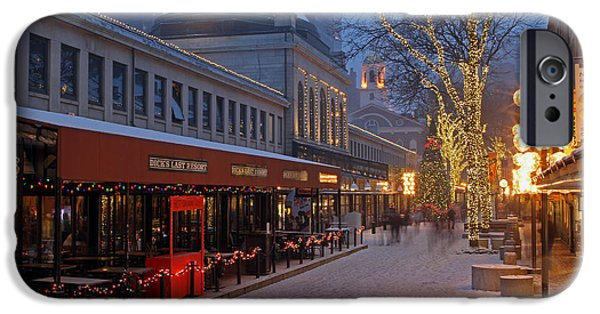 Snowy Night iPhone Cases - Boston Quincy Market and Faneuil Hall iPhone Case by Juergen Roth