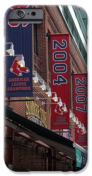 Fenway Park iPhone Cases - Boston Red Sox 2013 Championship Banner iPhone Case by Juergen Roth