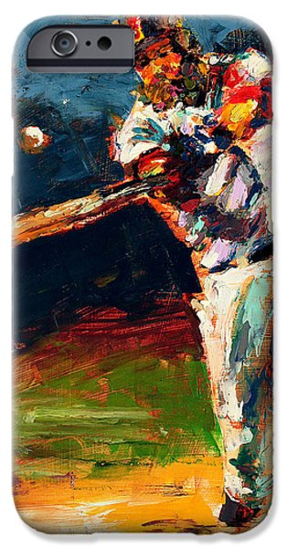 Red Sox Paintings iPhone Cases - Boston Red Sox Beard Mike Napoli iPhone Case by Derek Russell