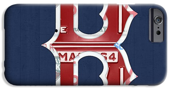 Boston Red Sox iPhone Cases - Boston Red Sox Logo Letter B Baseball Team Vintage License Plate Art iPhone Case by Design Turnpike