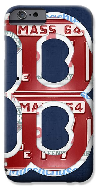 Boston Red Sox Logo Letter B Baseball Team Vintage License Plate Art iPhone Case by Design Turnpike
