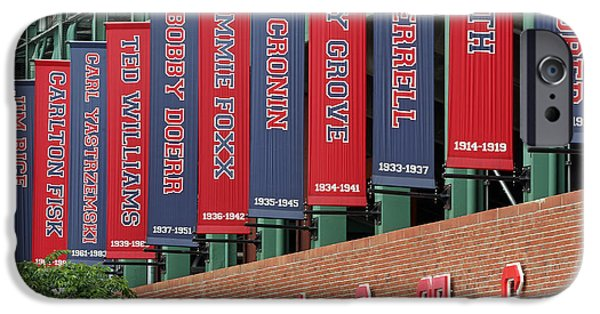 Carlton Fisk iPhone Cases - Boston Red Sox Retired Numbers Along Fenway Park iPhone Case by Juergen Roth