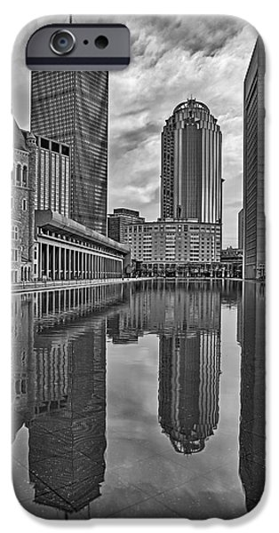 Boston Skyline iPhone Cases - Boston Reflections BW iPhone Case by Susan Candelario