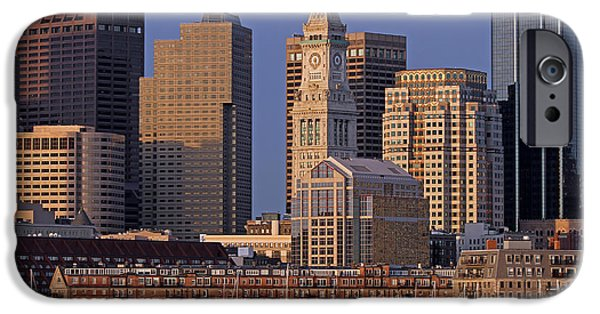 Custom House Tower iPhone Cases - Boston Sail Boats and Cityscape iPhone Case by Juergen Roth