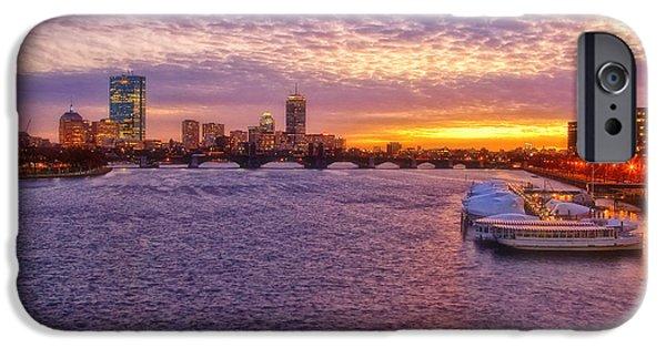 Boston Nightscape iPhone Cases - Boston Sky iPhone Case by Joann Vitali