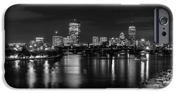Charles River iPhone Cases - Boston Skyline - Black and White iPhone Case by Joann Vitali