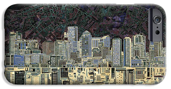 City. Boston iPhone Cases - Boston Skyline Abstract Antique iPhone Case by MB Art factory