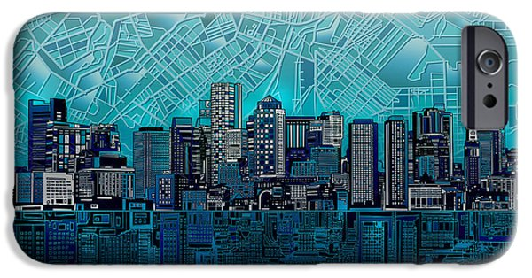 Boston Cityscape iPhone Cases - Boston Skyline Abstract Blue iPhone Case by MB Art factory