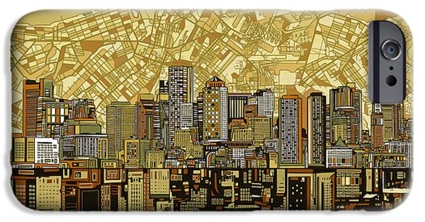 Boston Cityscape iPhone Cases - Boston Skyline Abstract Brown iPhone Case by MB Art factory