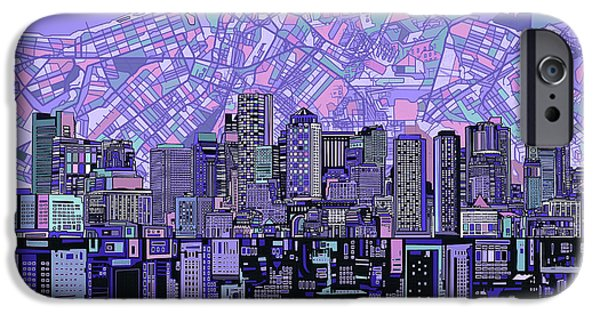 City. Boston iPhone Cases - Boston Skyline Abstract iPhone Case by MB Art factory
