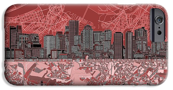 City. Boston iPhone Cases - Boston Skyline Abstract Red iPhone Case by MB Art factory