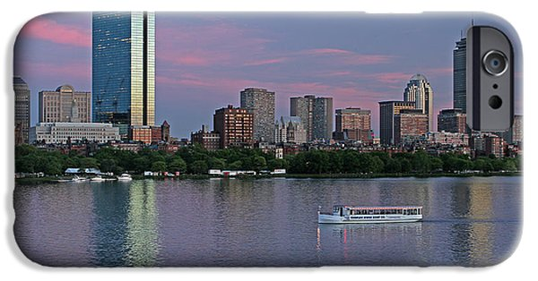 Charles River iPhone Cases - Boston Skyline and Sightseeing Boat iPhone Case by Juergen Roth