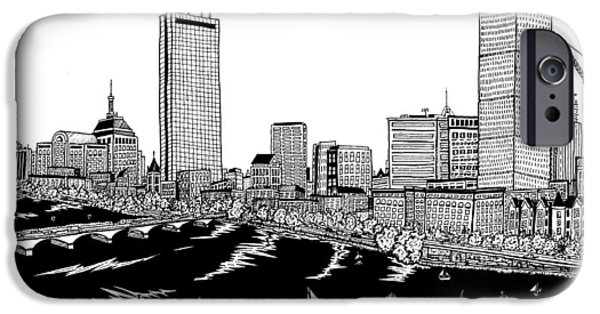 City. Boston Drawings iPhone Cases - Boston Skyline Back Bay iPhone Case by Conor Plunkett