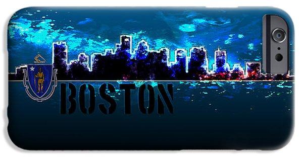 Massachusetts State Flag Digital iPhone Cases - Boston Skyline iPhone Case by Becca Buecher