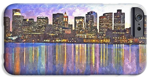 City. Boston iPhone Cases - Boston skyline by night iPhone Case by Rachel Niedermayer