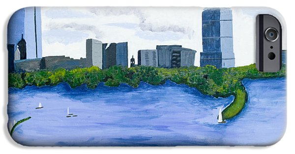 Boston Ma Paintings iPhone Cases - Boston Skyline iPhone Case by Carmela Cattuti