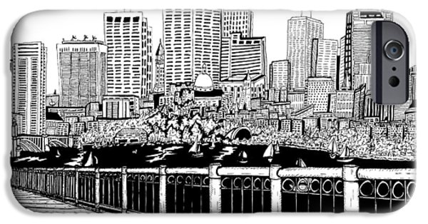 City. Boston Drawings iPhone Cases - Boston Skyline Hatch Shell iPhone Case by Conor Plunkett