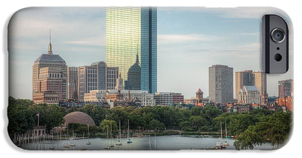 Charles River iPhone Cases - Boston Skyline I iPhone Case by Clarence Holmes
