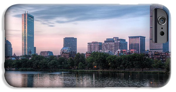 Charles River iPhone Cases - Boston Skyline III iPhone Case by Clarence Holmes