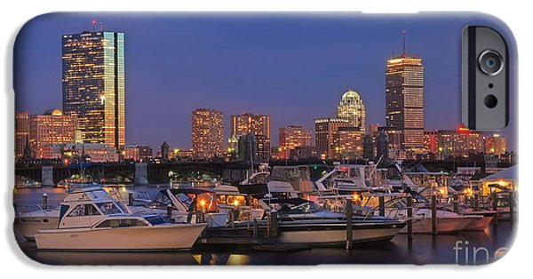 Boston Nightscape iPhone Cases - Boston Skyline in Blue and Gold iPhone Case by Joann Vitali
